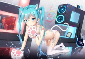 Rating: Safe Score: 138 Tags: airjun animal_ears catgirl guitar hatsune_miku instrument long_hair tail thighhighs twintails underwear vocaloid watermark User: sadodere-chan
