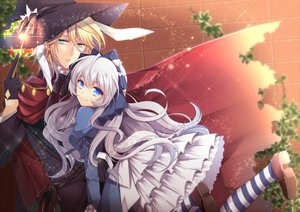 Rating: Safe Score: 66 Tags: agekichi blonde_hair blue_eyes bow cape dress gloves gray_hair green_eyes hat lolita_fashion long_hair mage magic male original thighhighs wand witch_hat User: C4R10Z123GT