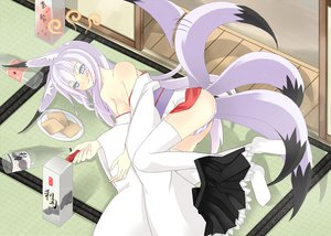 Rating: Questionable Score: 75 Tags: animal_ears food foxgirl japanese_clothes makura_tea multiple_tails original panties skirt striped_panties tail thighhighs underwear yukata User: SciFi