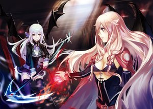 Rating: Safe Score: 89 Tags: 2girls ia liyou-ryon magic scythe vocaloid weapon wings yowane_haku User: FormX