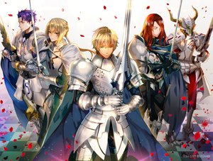Rating: Safe Score: 39 Tags: all_male aqua_eyes armor bedivere blonde_hair boots cape fate/grand_order fate_(series) gawain gloves green_eyes group horns lancelot_(fate) long_hair male petals ponytail purple_hair red_hair short_hair sword tristan_(fate/grand_order) weapon weed User: otaku_emmy