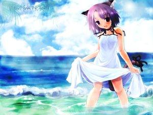 Rating: Questionable Score: 15 Tags: animal_ears clouds dress purple_hair summer_dress tagme water wet User: Oyashiro-sama