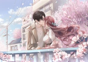 Rating: Safe Score: 41 Tags: black_hair bow building cherry_blossoms city clouds flowers kiss male nu10040904 original short_hair sky spring User: BattlequeenYume