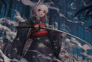 Rating: Safe Score: 56 Tags: animal_ears dark fang forest foxgirl japanese_clothes katana kimono moon night noconol original red_eyes sword tail tree weapon white_hair User: otaku_emmy