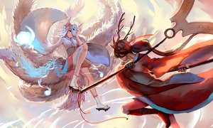Rating: Safe Score: 121 Tags: 2girls ahri_(league_of_legends) akali animal_ears brown_hair foxgirl horns japanese_clothes kimono league_of_legends long_hair magic mask multiple_tails ponytail sishenfan socks spear tail weapon User: Flandre93