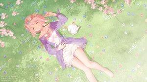 Rating: Safe Score: 67 Tags: animal barefoot cherry_blossoms dress flowers grass original pink_hair rimuu short_hair sleeping watermark User: BattlequeenYume