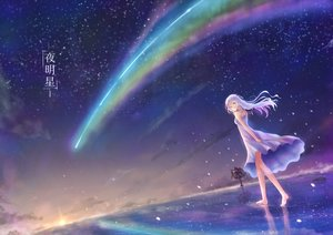 Rating: Safe Score: 39 Tags: aqua_eyes barefoot clouds dress flowers long_hair original reflection sky stars summer_dress tagme_(artist) tree water User: luckyluna