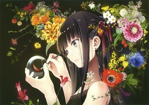 Rating: Safe Score: 90 Tags: black_hair flowers long_hair natsume_eri scan yellow_eyes User: BattlequeenYume