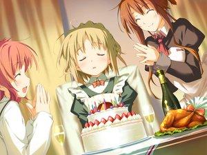Rating: Safe Score: 3 Tags: amagahara_inaho blonde_hair brown_hair cake drink favorite food game_cg happy_margaret! kokonoka maid minahase_karin red_hair sakura_mao User: 秀悟