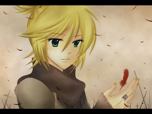 Rating: Safe Score: 6 Tags: agi_(holic2007) all_male blonde_hair brown clouds cross feathers green_eyes kagamine_len male ponytail scarf short_hair vocaloid User: MissBMoon