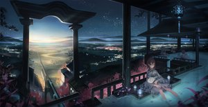 Rating: Safe Score: 255 Tags: japanese_clothes monono night original scenic sky sleeping torii water wet User: opai