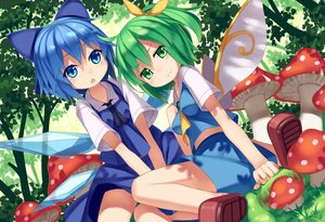 Rating: Safe Score: 61 Tags: 2girls blue_eyes blue_hair cirno daiyousei green_eyes green_hair loli mikan_(bananoha) touhou wings User: FormX