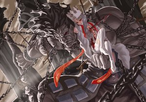 Rating: Safe Score: 111 Tags: berserker blood boots chain crown fate_(series) fate/stay_night feitie gray_hair illyasviel_von_einzbern jpeg_artifacts long_hair red_eyes shackles sword thighhighs weapon User: Flandre93
