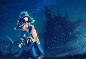Rating: Safe Score: 53 Tags: blue blue_eyes blue_hair building clouds headdress night original short_hair sky stars tail tenmaso User: BattlequeenYume