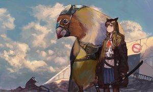 Rating: Safe Score: 27 Tags: animal_ears black_hair blue_eyes catgirl gloves jun_(5455454541) katana long_hair original pantyhose skirt sword weapon User: SciFi