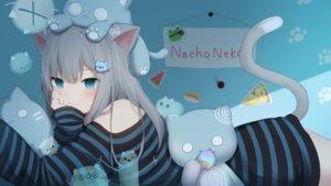 Rating: Safe Score: 105 Tags: amashiro_natsuki animal_ears aqua_eyes catgirl gray_hair long_hair nacho_neko original tail User: BattlequeenYume