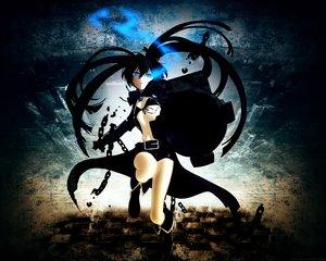 Rating: Safe Score: 77 Tags: black_hair black_rock_shooter blue_eyes gun huke kuroi_mato scar shorts twintails weapon User: Brynhild