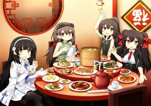 Rating: Safe Score: 11 Tags: anthropomorphism black_hair breasts brown_eyes brown_hair cape dress drink food girls_frontline gloves goggles group long_hair orange_eyes pantyhose ponytail qbz-95_(girls_frontline) qbz-97_(girls_frontline) skirt sudo_shinren tie twintails type_56-1_(girls_frontline) type_63_(girls_frontline) User: otaku_emmy
