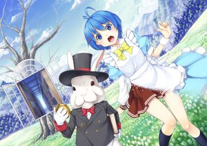 Rating: Safe Score: 32 Tags: alice_in_wonderland blue_eyes blue_hair blush cheshire_cat gloves hat kasei_(xyz) maid seifuku shiori_otoha short_hair tree white_rabbit User: SciFi