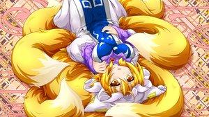 Rating: Safe Score: 32 Tags: animal_ears blonde_hair foxgirl hat kazami_karasu multiple_tails short_hair tail touhou yakumo_ran yellow_eyes User: RyuZU