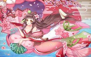 Rating: Safe Score: 36 Tags: breasts brown_hair cherry_blossoms cleavage fang flowers long_hair nightcat onmyouji orange_eyes petals shouzu_(onmyouji) water User: RyuZU