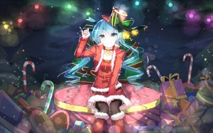 Rating: Safe Score: 296 Tags: bai_yemeng bell boots bow choker christmas hat hatsune_miku long_hair santa_costume skirt thighhighs twintails vocaloid User: Flandre93