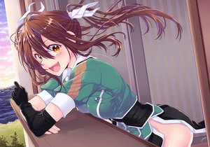 Rating: Safe Score: 73 Tags: anthropomorphism blush breasts brown_eyes brown_hair clouds elbow_gloves gloves grass kantai_collection long_hair signed sky tone_(kancolle) tree water yami_(m31) User: luckyluna