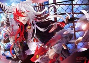 Rating: Safe Score: 32 Tags: aritsune-chan bell bicolored_eyes building collar gun long_hair necklace original red_hair watermark weapon white_hair User: BattlequeenYume
