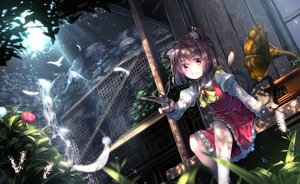 Rating: Safe Score: 269 Tags: animal animal_ears bird bow brown_hair catgirl chen dress feathers flowers instrument multiple_tails red_eyes ryosios short_hair tail touhou water waterfall User: Flandre93