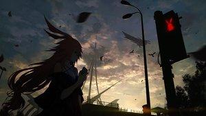 Rating: Safe Score: 155 Tags: aircraft animal animal_ears bird clouds dark dress honkai_impact hoshi_o_mite long_hair phone pink_hair sky yae_sakura_(benghuai_xueyuan) User: BattlequeenYume