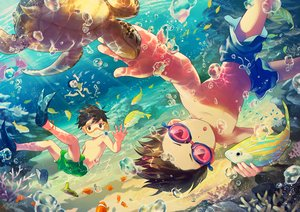 Rating: Safe Score: 36 Tags: all_male animal brown_eyes brown_hair bubbles fish male noeyebrow_(mauve) original short_hair shorts signed turtle underwater water User: RyuZU