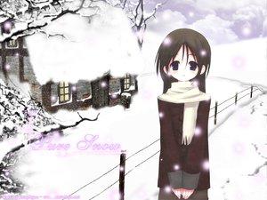 Rating: Safe Score: 24 Tags: black_eyes black_hair scarf snow winter User: Oyashiro-sama