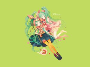 Rating: Safe Score: 32 Tags: aqua_eyes aqua_hair dress food green hatsune_miku long_hair lots_of_laugh_(vocaloid) socks stockings twintails vocaloid User: SennoMakoto