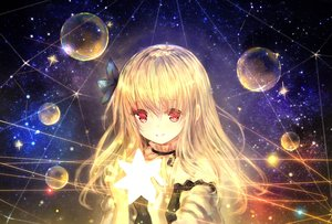 Rating: Safe Score: 88 Tags: blonde_hair bubbles catbell flowers long_hair red_eyes space stars tagme_(character) User: BattlequeenYume