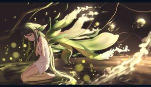 Rating: Safe Score: 150 Tags: barefoot dress green_eyes green_hair hk_(zxd0554) long_hair saya saya_no_uta wings User: mattiasc02