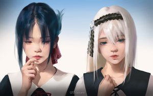 Rating: Safe Score: 37 Tags: black_hair blue_eyes close gradient gray_hair g-tz kaguya-sama_wa_kokurasetai_~tensai-tachi_no_renai_zunousen~ realistic red_eyes school_uniform shinomiya_kaguya shirogane_kei watermark User: gnarf1975