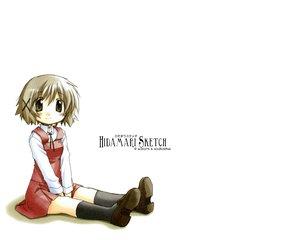 Rating: Safe Score: 6 Tags: blush brown_eyes brown_hair hidamari_sketch kneehighs school_uniform short_hair skirt yuno User: Oyashiro-sama