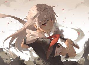 Rating: Safe Score: 140 Tags: anthropomorphism blonde_hair gensou_kuro_usagi kantai_collection long_hair petals red_eyes school_uniform yuudachi_(kancolle) User: Flandre93