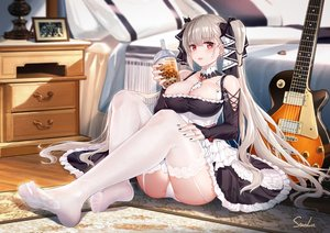 Rating: Safe Score: 259 Tags: anthropomorphism azur_lane bed blush breasts cleavage drink dust_(394652411) formidable_(azur_lane) garter_belt goth-loli gray_hair guitar instrument lolita_fashion long_hair panties red_eyes signed stockings the_beatles twintails underwear User: BattlequeenYume