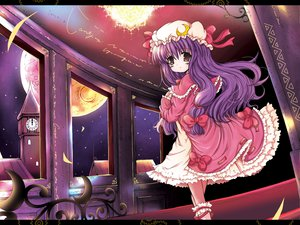 Rating: Safe Score: 18 Tags: blush bow brown_eyes dress hat long_hair moon night patchouli_knowledge purple_hair ribbons sky stars touhou User: Oyashiro-sama