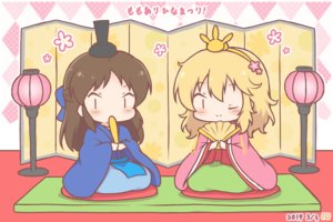 Rating: Safe Score: 23 Tags: 2girls black_eyes blonde_hair brown_hair chibi fan headdress idolmaster idolmaster_cinderella_girls japanese_clothes kimono long_hair mitarashi_neko sakurai_momoka short_hair tachibana_arisu wink User: otaku_emmy