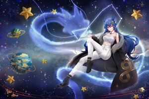 Rating: Safe Score: 64 Tags: aliasing blue_hair boots cloud9 dragon horns long_hair planet red_eyes signed stars tagme_(artist) vienna_(vtuber) User: BattlequeenYume