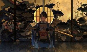 Rating: Safe Score: 61 Tags: all_male anthropomorphism dark japanese_clothes katana male mikazuki_munechika sword tagme_(artist) touken_ranbu weapon User: Kiho