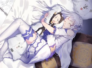 Rating: Safe Score: 79 Tags: braids emilia long_hair natsuki_subaru puck re:zero_kara_hajimeru_isekai_seikatsu skirt sleeping tagme_(artist) thighhighs white_hair User: RyuZU