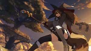Rating: Safe Score: 70 Tags: boots brown_hair clouds fang gloves goggles hat lansane long_hair orange_eyes original signed sky tail thighhighs tree witch witch_hat User: RyuZU