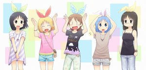 Rating: Safe Score: 58 Tags: aioi_yuuko annaka_haruna black_eyes black_hair blonde_hair blue_eyes blue_hair blush bow brown_eyes brown_hair glasses hiroki_eiki long_hair minakami_mai naganohara_mio necklace nichijou shinonome_nano short_hair User: PAIIS