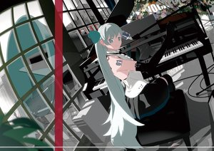 Rating: Safe Score: 111 Tags: bthx computer elbow_gloves gloves gray_eyes gray_hair guitar hatsune_miku instrument long_hair microphone piano twintails vocaloid User: FormX