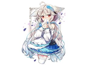 Rating: Safe Score: 52 Tags: animal_ears blush bow dress fujii_shino gray_hair lolita_fashion long_hair original paper petals red_eyes ribbons thighhighs white User: otaku_emmy