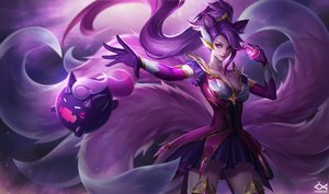 Rating: Safe Score: 141 Tags: ahri_(league_of_legends) animal_ears breasts citemer cleavage elbow_gloves foxgirl gloves league_of_legends long_hair multiple_tails pink_eyes ponytail purple_hair tail User: Jahta