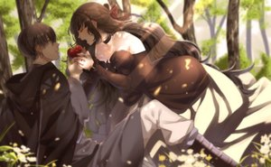 Rating: Safe Score: 63 Tags: apple braids brown_hair cape flowers food fruit long_hair maka male original petals short_hair signed tree User: RyuZU